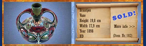 Nr.: 102,  Already sold: Decorative pottery of Brantjes	, Description: Plateel Vase, Height 19,8 cm Width 17,9 cm, Period: Year 1898, Decorator : HD,