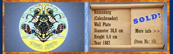 Nr.: 15,  Already sold: Decorative pottery of Rozenburg	, Description: colenbrander Plateel Plate, Diameter 38,8 cm Height 5,4 cm, Period: Year 1887, Decorator : Unknown,