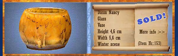 Nr.: 153, Already sold : glass Art of Daum Nancy, description: Glass   vase, height 4,6 cm width 5,6 cm, period: unknown, Winter landschap