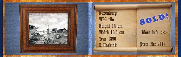Nr.: 241,  Already sold: Decorative pottery of Rozenburg  Plateel WFG Tile, Height 14 cm , Width 16,5 cm , Year 1890 , D. Harkink