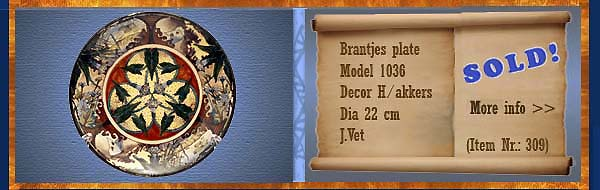 Nr.: 309,  Already sold: Decorative pottery of Brantjes