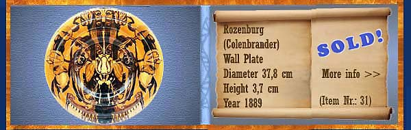 Nr.: 31,  Already sold: Decorative pottery of Rozenburg	, Description: colenbrander Plateel Plate, Diameter 37,8 cm Height 3,7 cm, Period: Year 1889, Decorator : Unknown,