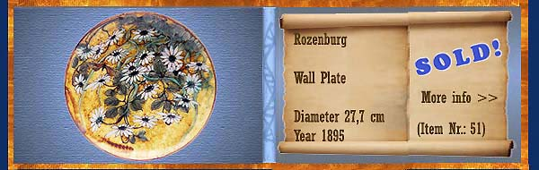 Nr.: 51,  Already sold: Decorative pottery of Rozenburg	, Description: Plateel Plate, Diameter 27,7 cm , Period: Year 1895, Decorator : Unknown,