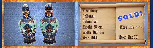 Nr.: 70,  Already sold: Decorative pottery of Rozenburg, Description: (juliana) Plateel Kaststel, Height 38 cm Width 16,5 cm, Period: Year 1913, Decorator : Unknown,