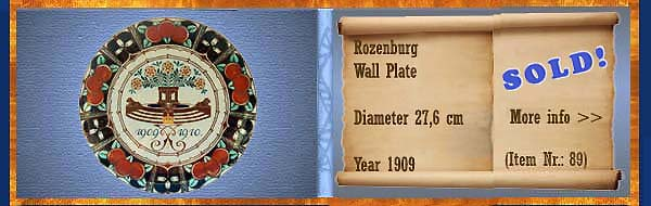 Nr.: 89, Already sold: Decorative pottery of Rozenburg, Description: Plateel wall plate, Dia 27,6 cm , Period: Year 1909, Decorator : Unknown,