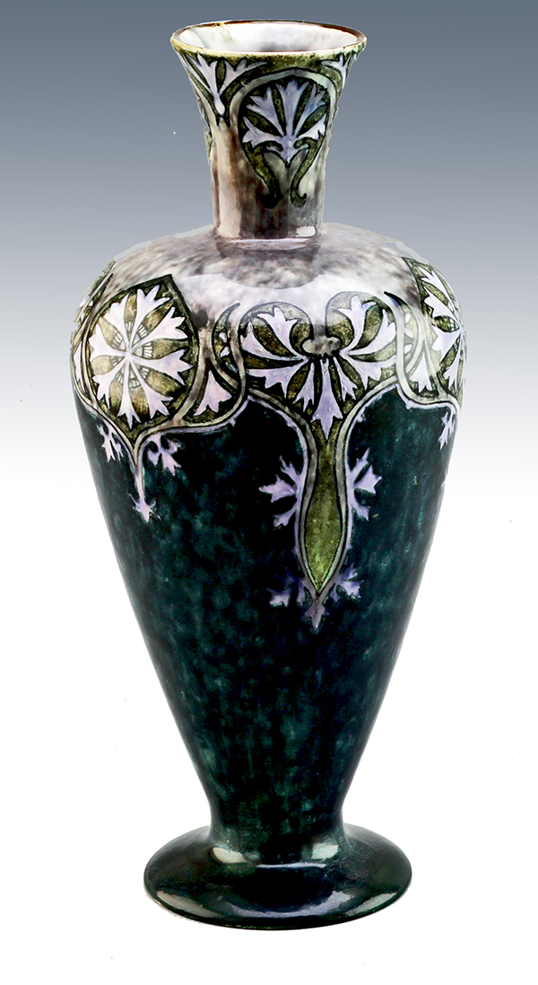 Nr.: 103, On offer decorative pottery made by Holland Utrecht, Description: Plateel Vase, Height 23,6 cm width 10,7 cm, period: Year 1893-1920, Decorator : AD,