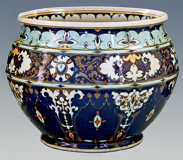 Nr.: 13, On offer decorative pottery made by Rozenburg, Description: (juliana) Plateel Pot, Diameter 37 cm Height 26,7 cm, period: Year 1913, Decorator : unknown,