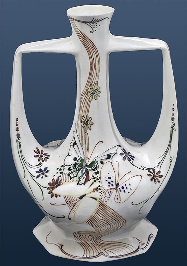 Nr.: 279, On offer 2 handled Eggshell vase made by Rozenburg, Description: Rozenburg 2 handled Eggshell Vase Vase, Height 21,5 cm, period: Year 1905, H.G.A. Huyvenaar, butterflies and ornaments
