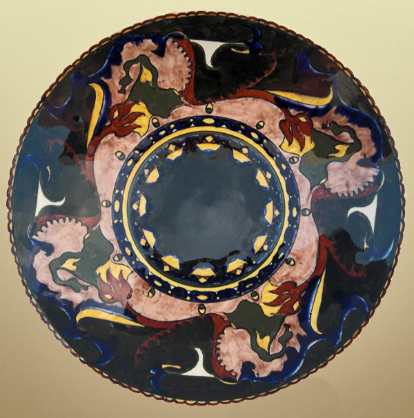 Nr.: 44, On offer decorative pottery made by Rozenburg,Description: colenbrander Plateel Wall plate, Diameter 23,2 cm , period: Year 1894, Decorator : unknown,