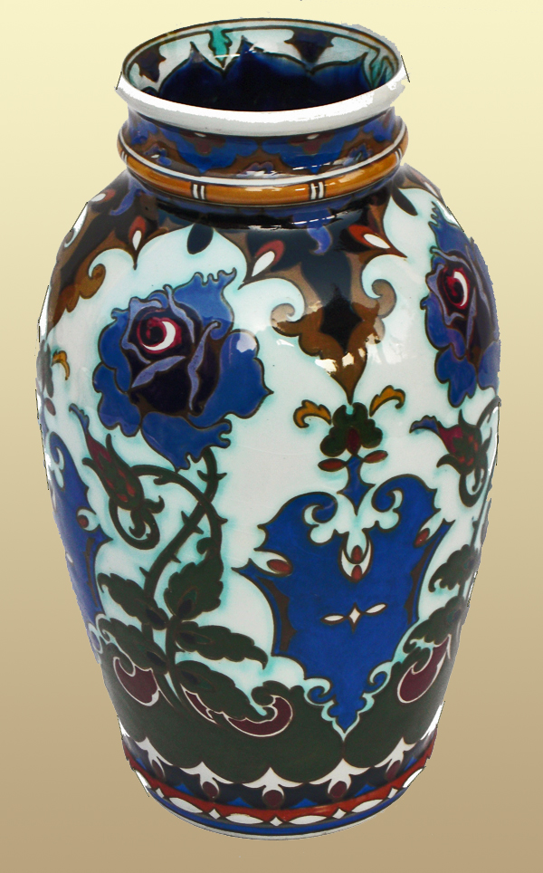Nr.: 67, On offer decorative pottery made by Rozenburg, Description: (juliana) Plateel Vase, Height 23,7 cm width 14 cm, period: Year 1913, Decorator : unknown,