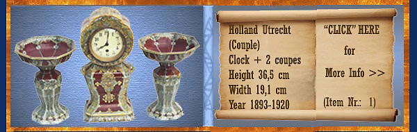 Nr.: 1, On offer decorative pottery of Holland Utrecht , Description: (pair) Plateel Clock + 2 coupes, Height 36,5 cm Width 19,1 cm, Period: Year 1893-1920, Decorator : Unknown,