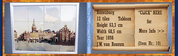 Nr.: 10, On offer decorative pottery of Rozenburg, Description: 12 Tiles Plateel Tableau, Height 53,3 cm Width 68,5 cm, Period: Year 1898, Decorator : J.W. van Rossum,