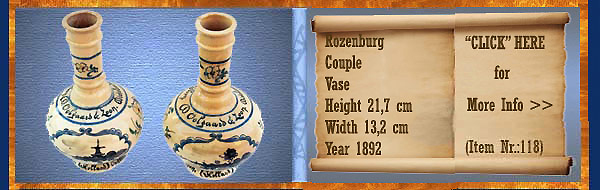 Nr.: 118, On offer decorative pottery of Rozenburg,  Description: stel Plateel Vazen, Height 21,7 cm Width 13,2 cm, Period: Year 1892, Decorator : Unknown ,