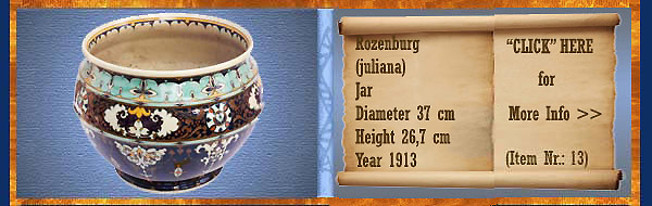 Nr.: 13, On offer decorative pottery of Rozenburg	, Description: (juliana) Plateel Pot, Diameter 37 cm Height 26,7 cm, Period: Year 1913, Decorator : Unknown,