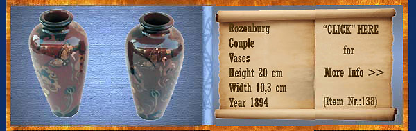 Nr.: 138, On offer decorative pottery of Rozenburg,  Description: stel Plateel Vase, Height 20 cm Width 10,3 cm, Period: Year 1894, Decorator : Unknown ,