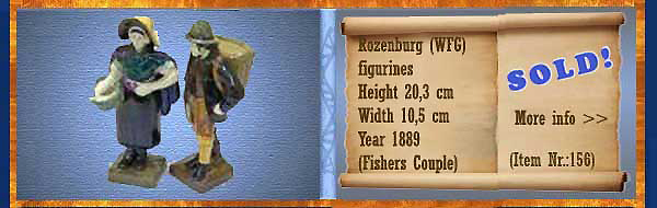 Nr.: 156, On offer decorative pottery of Rozenburg,  Description: (WFG merk) Plateel figurines , Height 20,3 cm Width 10,5 cm, Period: Year 1889, Decorator : (fisher couple),