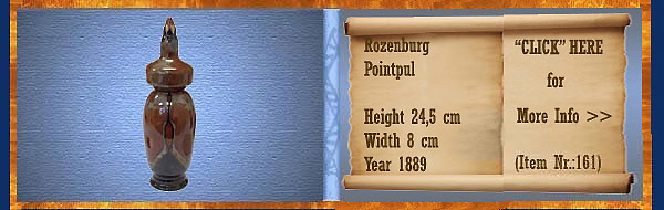 Nr.: 161, On offer decorative pottery of Rozenburg, Description: Plateel Pointpul, Height 24,5 cm Width 8 cm, Period: Year 1889, Decorator : Unknown,