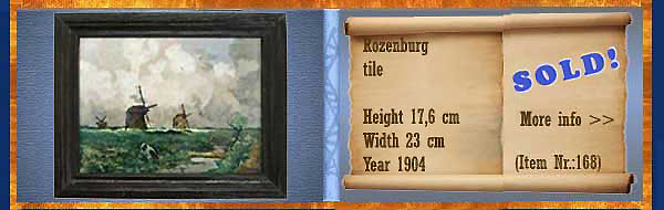 Nr.: 168, On offer decorative pottery of Rozenburg,  Description: Plateel tile, Height 17,6 cm Width 23 cm, Period: Year 1904, Decorator : Unknown,