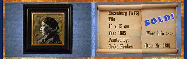Nr.: 180, On offer decorative pottery of Rozenburg  Plateel tile, Height 25 cm , Width 35 cm