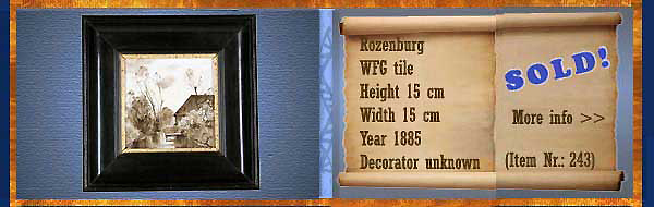 Nr.: 243, On offer decorative pottery of Rozenburg  Plateel WFG tile, Height 15 cm , Width 15 cm , Year 1885 , Decorator Unknown