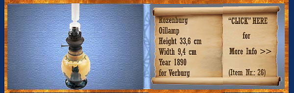 Nr.: 26, On offer decorative pottery of Rozenburg	, Description: Plateel Oillamp, Height 33,6 cm Width 9,4 cm, Period: Year 1890, Decorator : for Verburg,