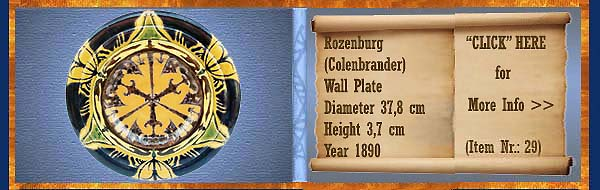 Nr.: 29, On offer decorative pottery of Rozenburg	, Description: colenbrander Plateel wall plate, Diameter 37,8 cm Height 3,7 cm, Period: Year 1890, Decorator : Unknown,