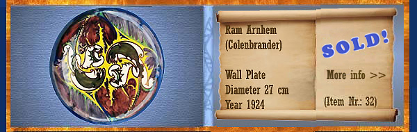 Nr.: 32, On offer decorative pottery of Ram, description: wall plate, T.A.C. Colenbrander, Decor: Proef, Diameter 27 cm, year 1924, decorator : unknown,