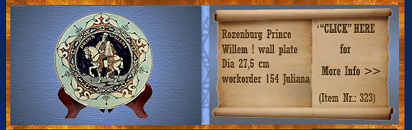 Nr.: 323, On offer decorative pottery of Rozenburg	, Description: Prins Willem I Plate