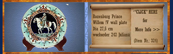 Nr.: 324, On offer decorative pottery of Rozenburg	, Description: Prins Willem IV Plate