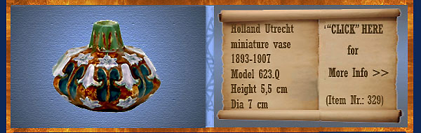 Nr.: 329, On offer decorative pottery of Holland Utrecht, Description: Plateel 8 kantig miniatuur Vaas