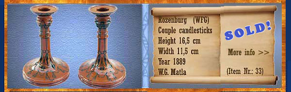 Nr.: 33, On offer decorative pottery of Rozenburg, description: (WFG merk) Plateel pair of candlesticks, height 16,5 cm width 11,5 cm, period: year 1889, decorator : W.G. Matla
