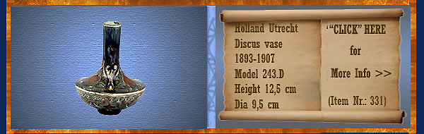 Nr.: 331, On offer decorative pottery of Holland Utrecht, Description: Plateel Discus Vaas