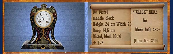 Nr.: 340, On offer decorative pottery of Distel, Description: Plateel Mantelklok