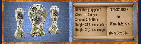 Nr.: 344, On offer decorative pottery of Rozenburg,  Description: (eggshell) Clock + Coupes