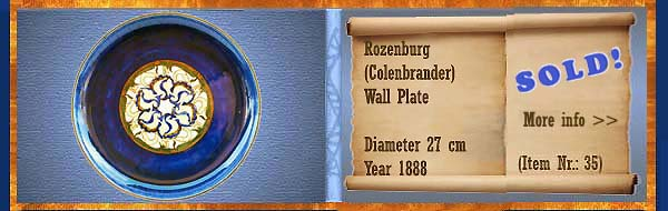 Nr.: 35, On offer decorative pottery of Rozenburg	, Description: colenbrander Plateel Plate, Diameter 27 cm , Period: Year 1888, Decorator : Unknown,
