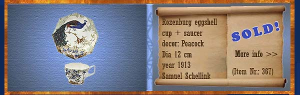 Nr.: 367, On offer decorative pottery of Rozenburg,  Description: (eggshell) cup and saucer