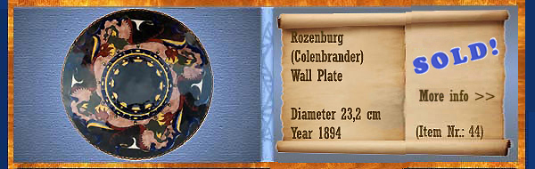 Nr.: 44, On offer decorative pottery of Rozenburg	,Description: colenbrander Plateel wall plate, Diameter 23,2 cm , Period: Year 1894, Decorator : Unknown,