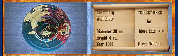 Nr.: 48, On offer decorative pottery of Rozenburg	, Description: Plateel Plate, Diameter 38 cm Height 4 cm, Period: Year 1900, Decorator : Unknown,