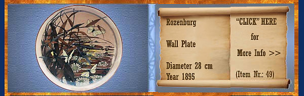 Nr.: 49, On offer decorative pottery of Rozenburg	, Description: Plateel wall plate, Diameter 28 cm , Period: Year 1895, Decorator : Unknown,