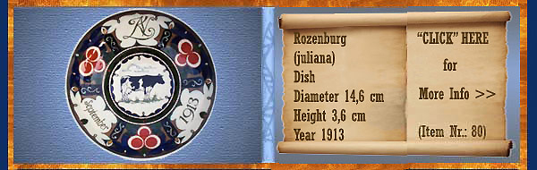 Nr.: 80, On offer decorative pottery of Rozenburg	, Description: (juliana) Plateel dish , Dia 14,6 cm Height 3,6 cm, Period: Year 1913, Decorator : Unknown ,